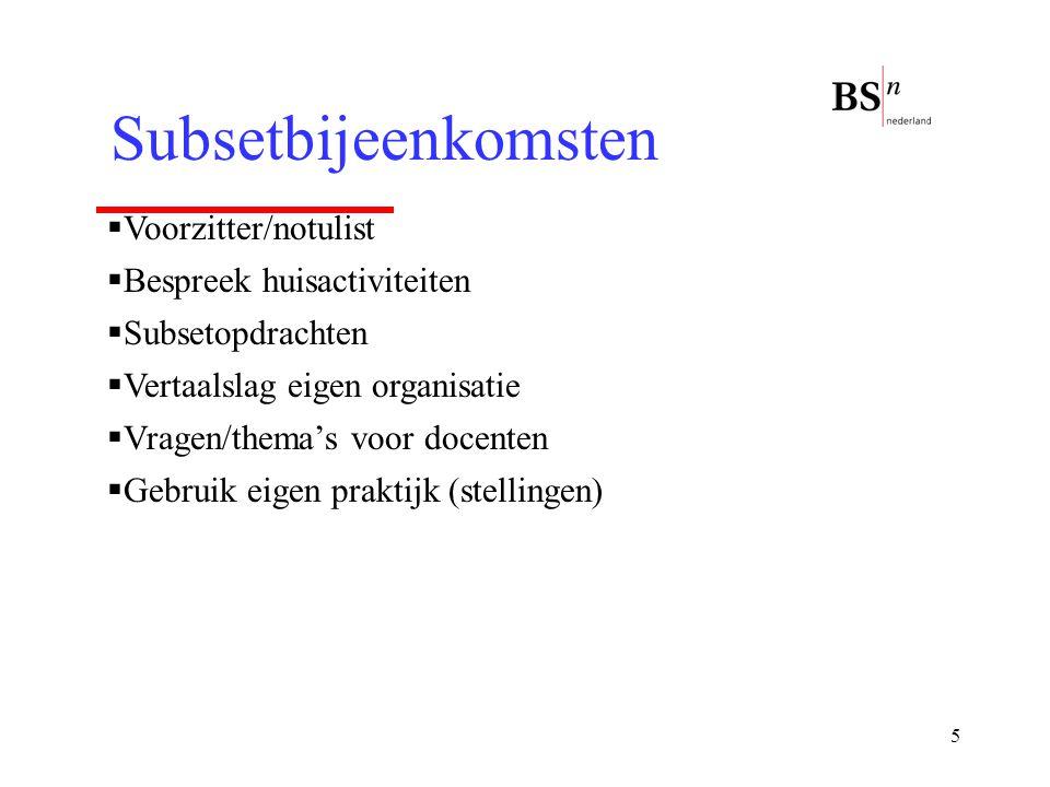 Subsetbijeenkomsten Voorzitter/notulist Bespreek huisactiviteiten
