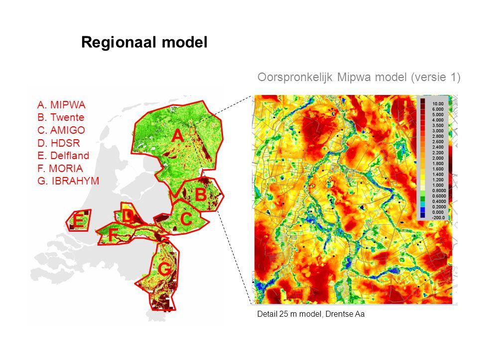 A B D C E F G Regionaal model Oorspronkelijk Mipwa model (versie 1)