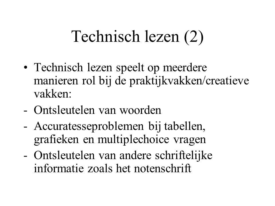 Technisch lezen (2) Technisch lezen speelt op meerdere manieren rol bij de praktijkvakken/creatieve vakken: