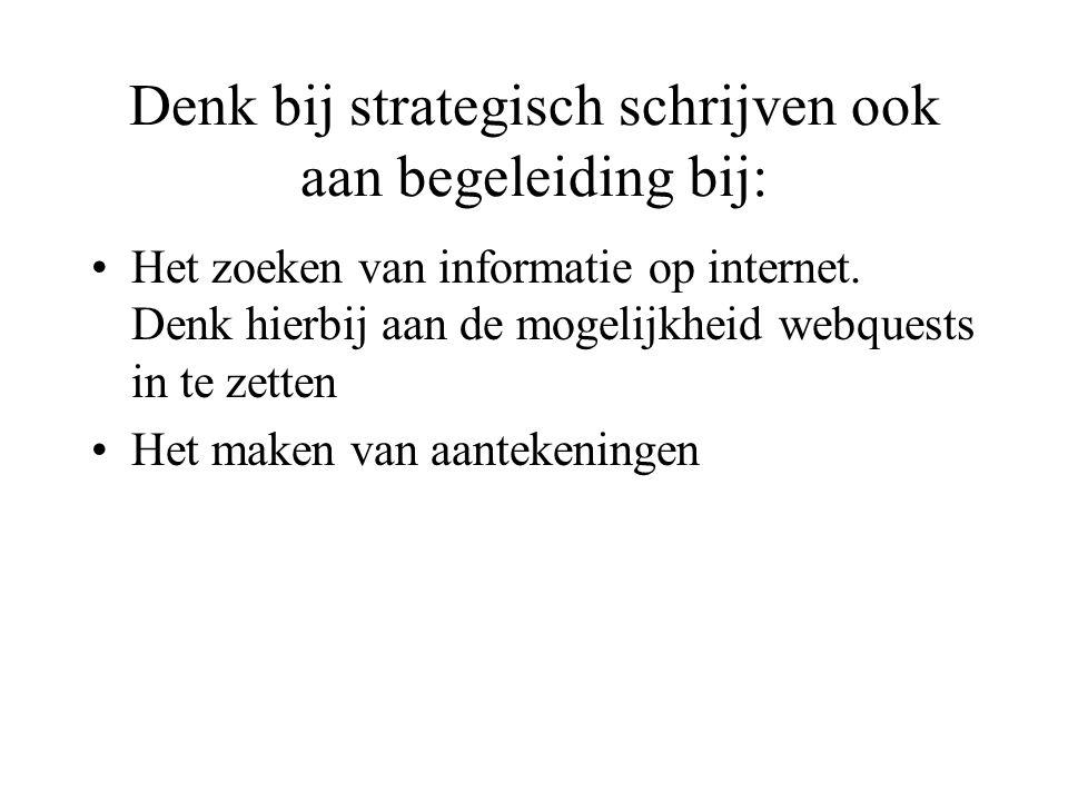Denk bij strategisch schrijven ook aan begeleiding bij: