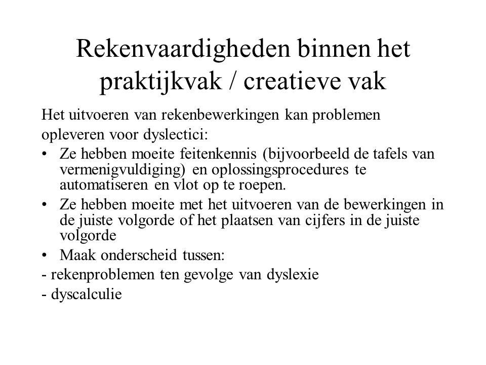 Rekenvaardigheden binnen het praktijkvak / creatieve vak