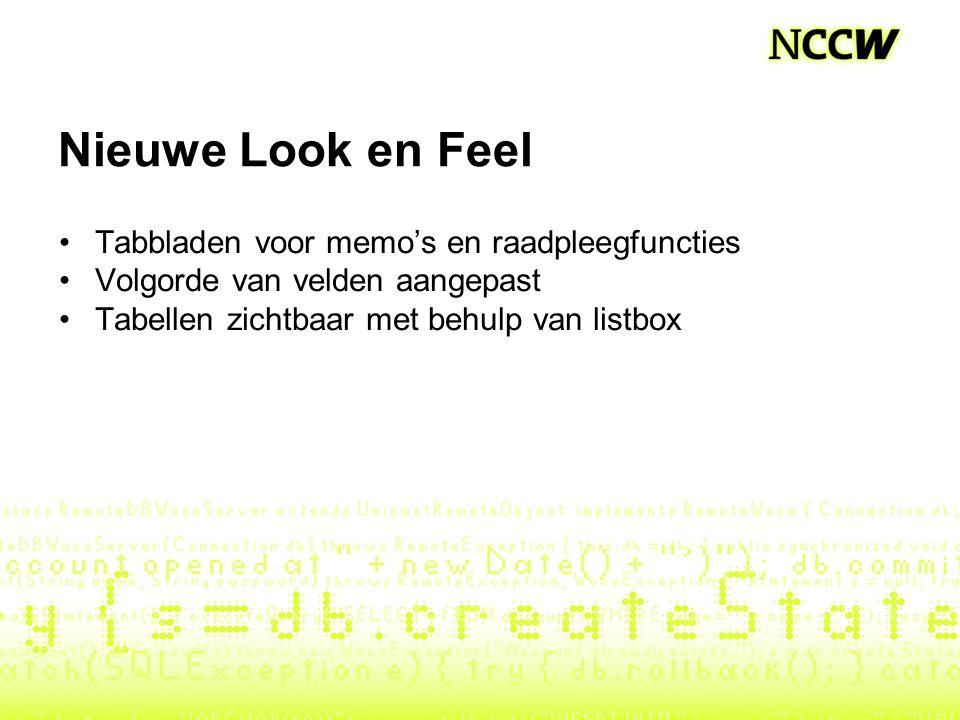 Nieuwe Look en Feel Tabbladen voor memo's en raadpleegfuncties