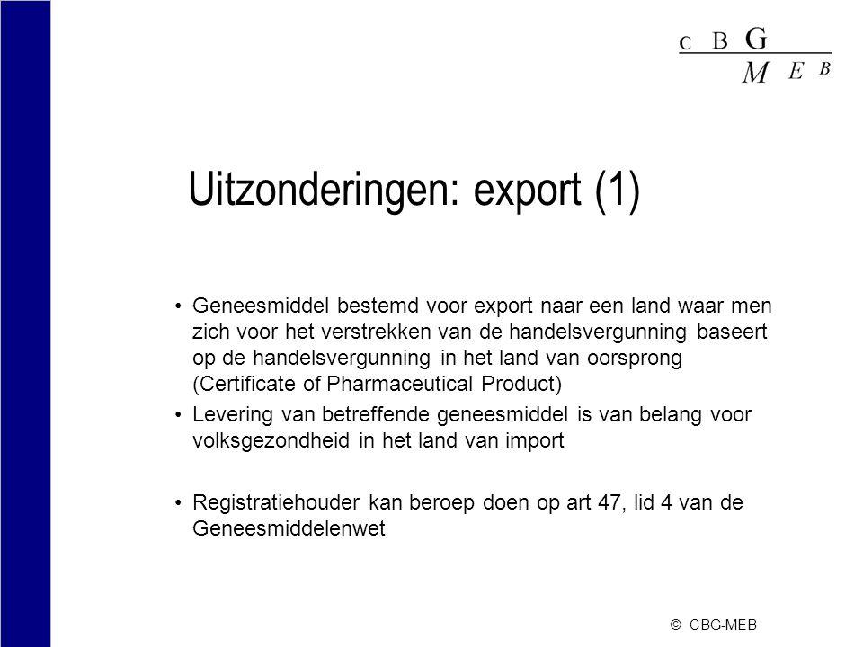Uitzonderingen: export (1)