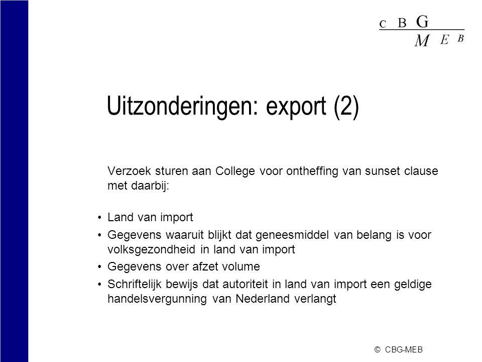Uitzonderingen: export (2)