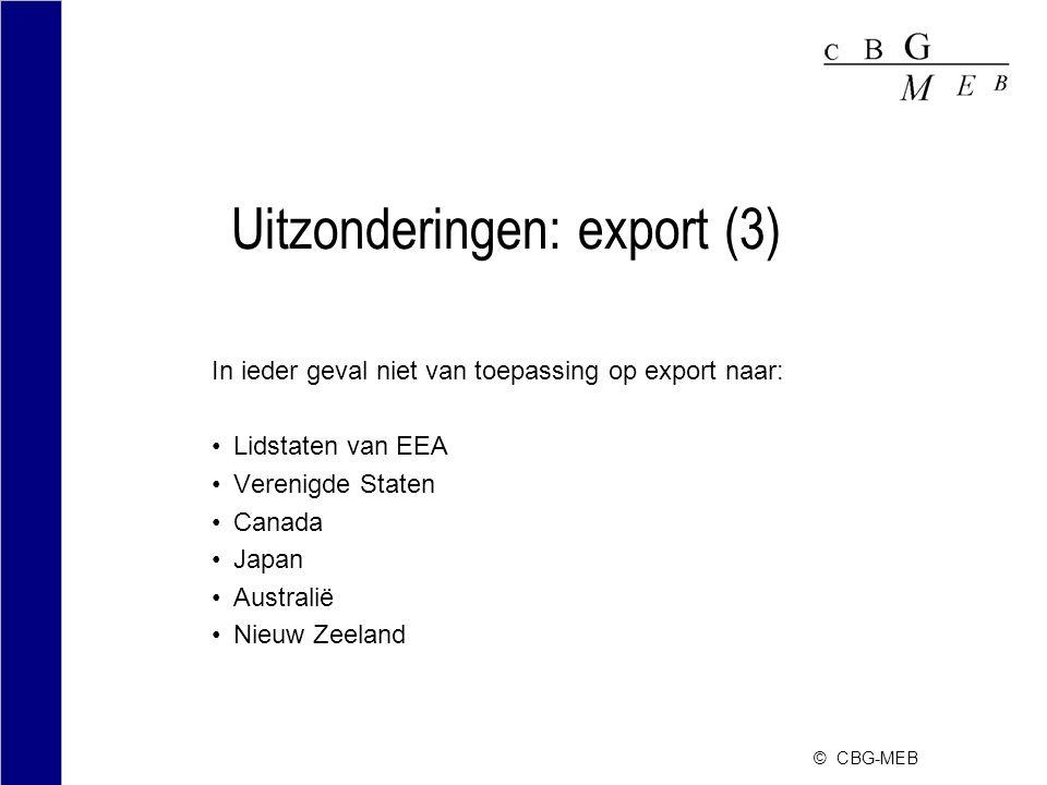 Uitzonderingen: export (3)