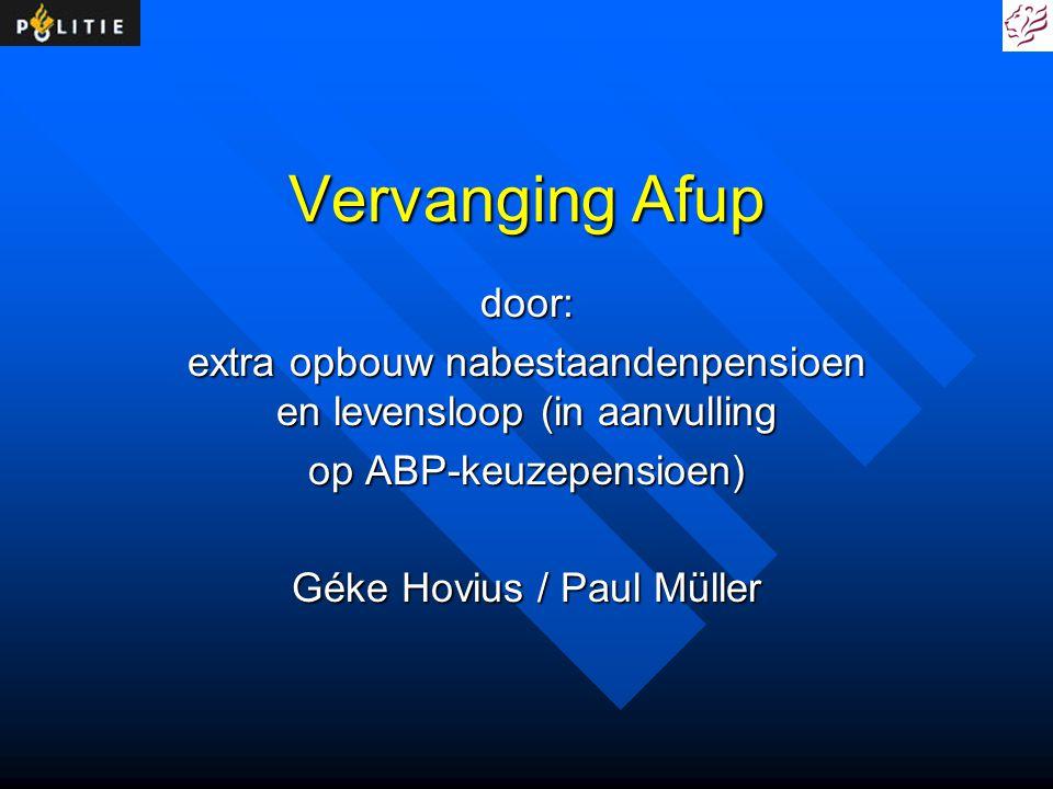 Vervanging Afup door: extra opbouw nabestaandenpensioen en levensloop (in aanvulling. op ABP-keuzepensioen)
