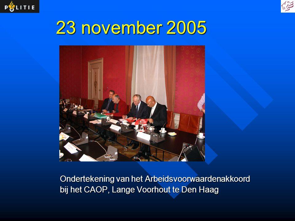 23 november 2005 Ondertekening van het Arbeidsvoorwaardenakkoord