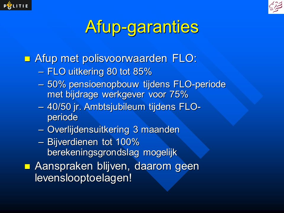 Afup-garanties Afup met polisvoorwaarden FLO: