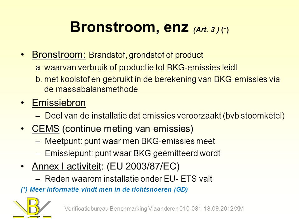 Bronstroom, enz (Art. 3 ) (*)