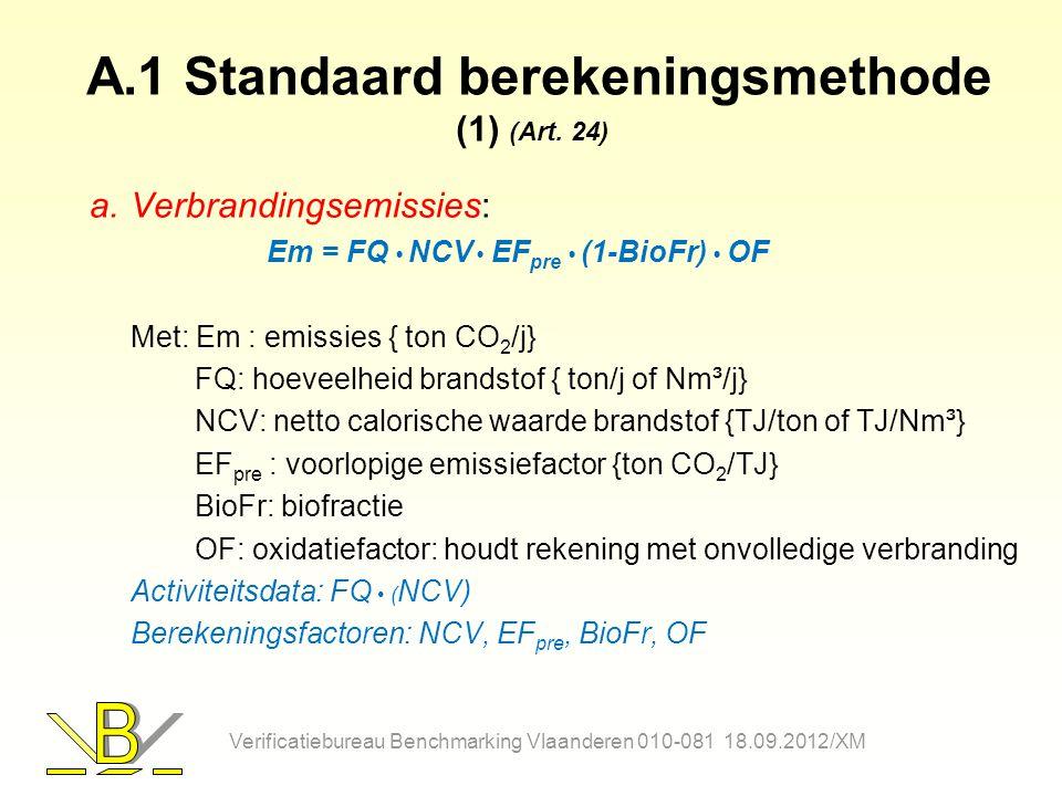 A.1 Standaard berekeningsmethode (1) (Art. 24)
