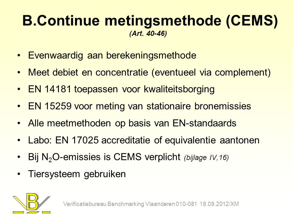 B.Continue metingsmethode (CEMS) (Art. 40-46)