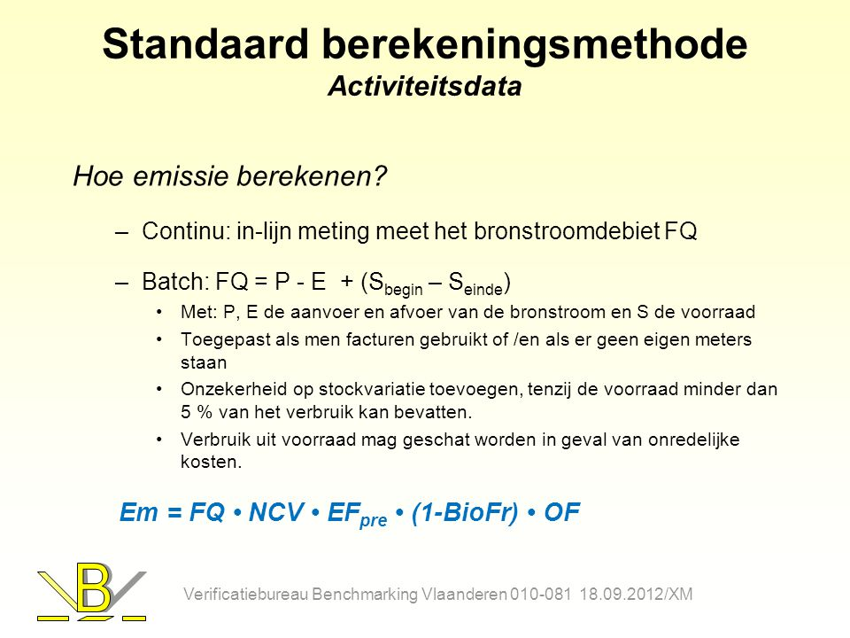 Standaard berekeningsmethode Activiteitsdata