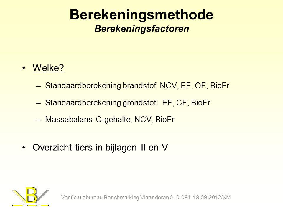 Berekeningsmethode Berekeningsfactoren