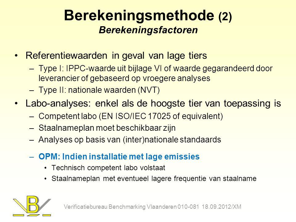 Berekeningsmethode (2) Berekeningsfactoren