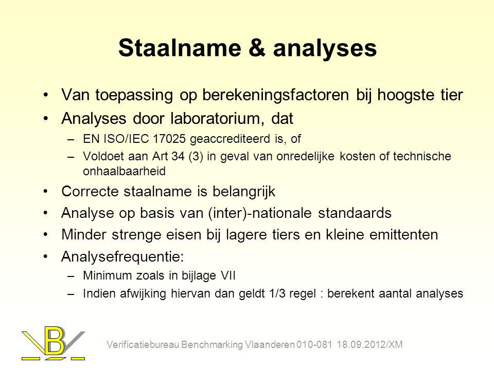 Staalname & analyses Van toepassing op berekeningsfactoren bij hoogste tier. Analyses door laboratorium, dat.