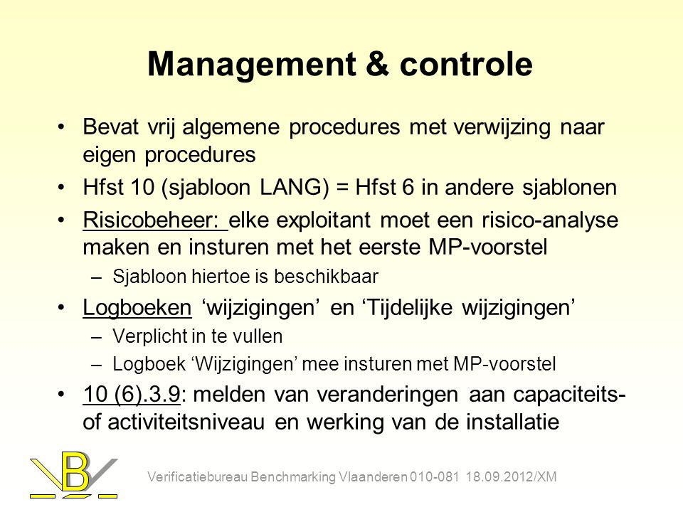 Management & controle Bevat vrij algemene procedures met verwijzing naar eigen procedures. Hfst 10 (sjabloon LANG) = Hfst 6 in andere sjablonen.