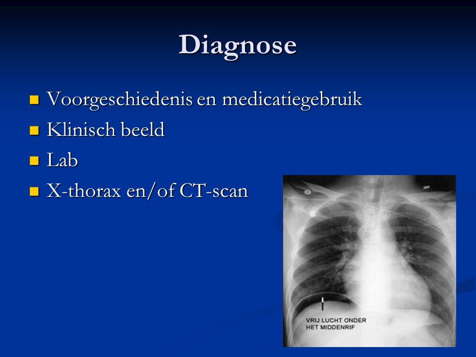 Diagnose Voorgeschiedenis en medicatiegebruik Klinisch beeld Lab