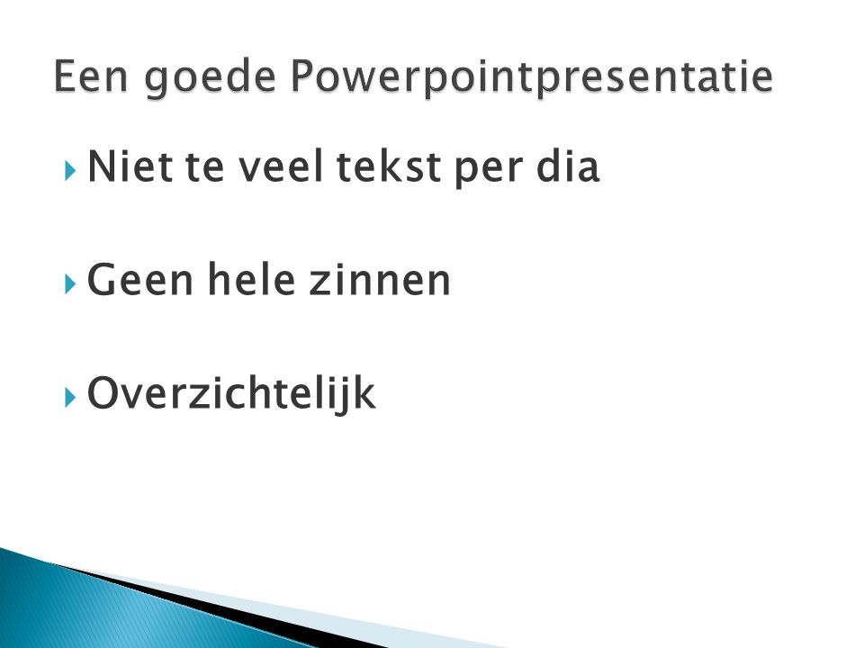 Een goede Powerpointpresentatie