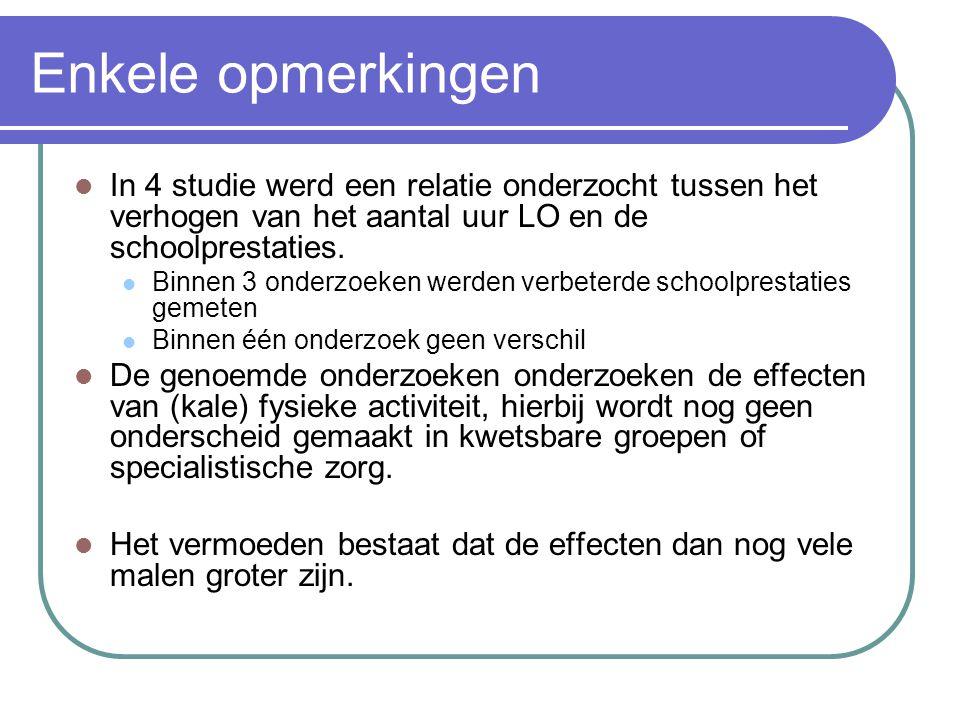 Enkele opmerkingen In 4 studie werd een relatie onderzocht tussen het verhogen van het aantal uur LO en de schoolprestaties.