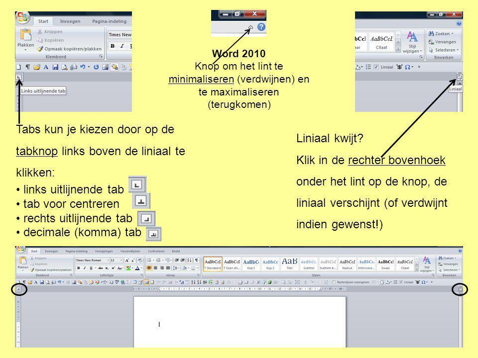 rechts uitlijnende tab decimale (komma) tab Liniaal kwijt