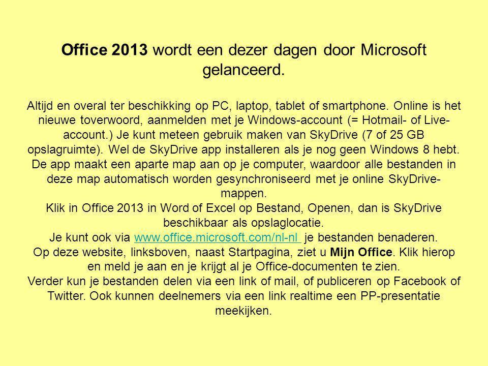 Office 2013 wordt een dezer dagen door Microsoft gelanceerd.