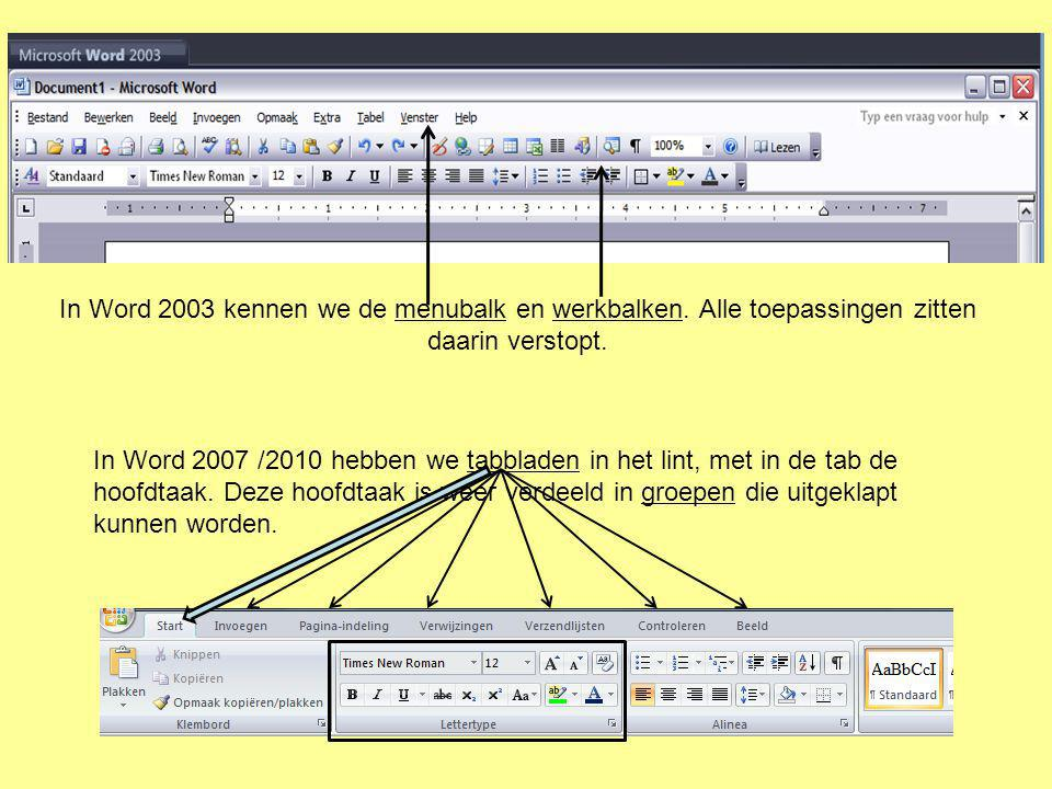 In Word 2003 kennen we de menubalk en werkbalken
