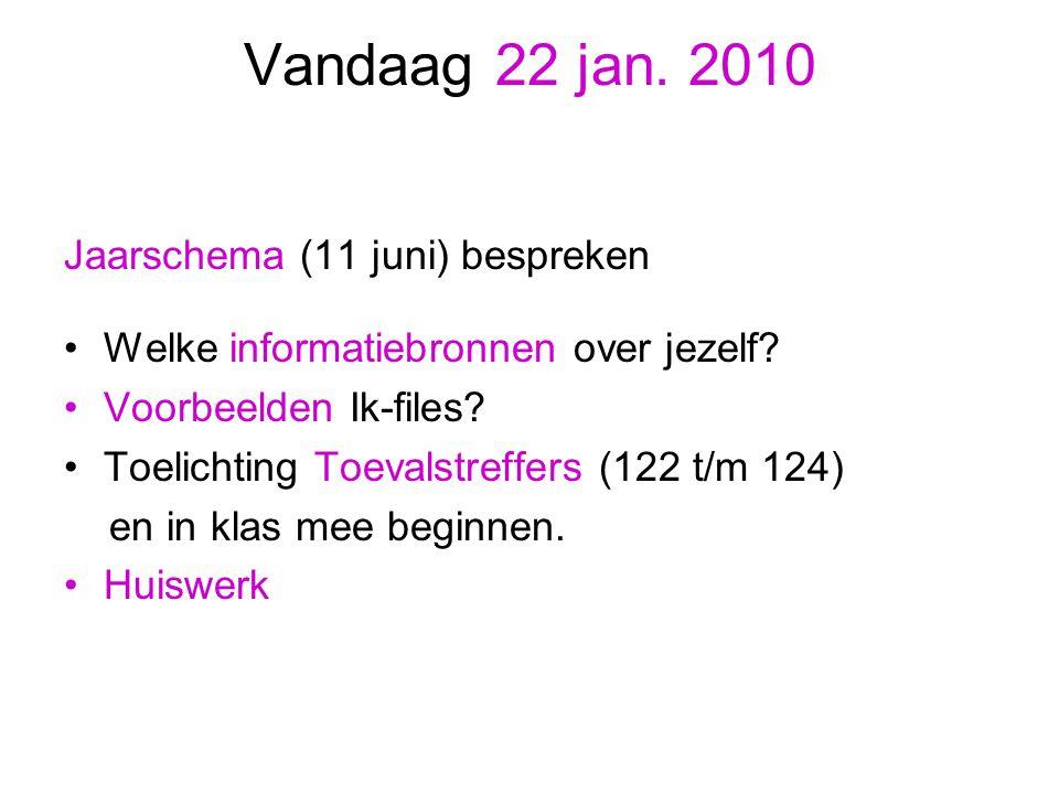 Vandaag 22 jan. 2010 Jaarschema (11 juni) bespreken