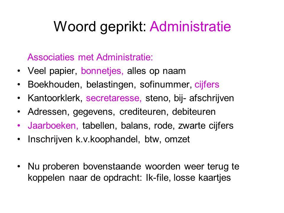 Woord geprikt: Administratie