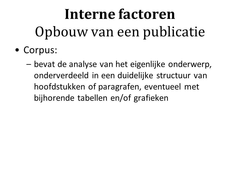 Interne factoren Opbouw van een publicatie