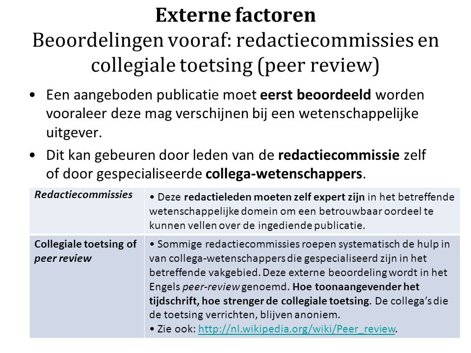 Externe factoren Beoordelingen vooraf: redactiecommissies en collegiale toetsing (peer review)