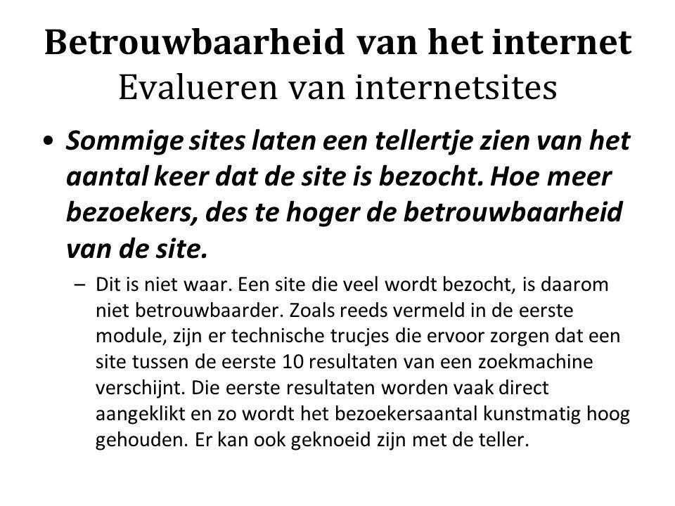 Betrouwbaarheid van het internet Evalueren van internetsites