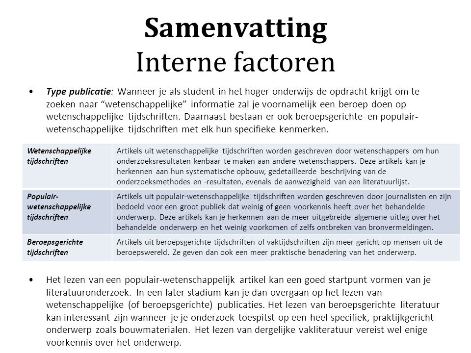 Samenvatting Interne factoren