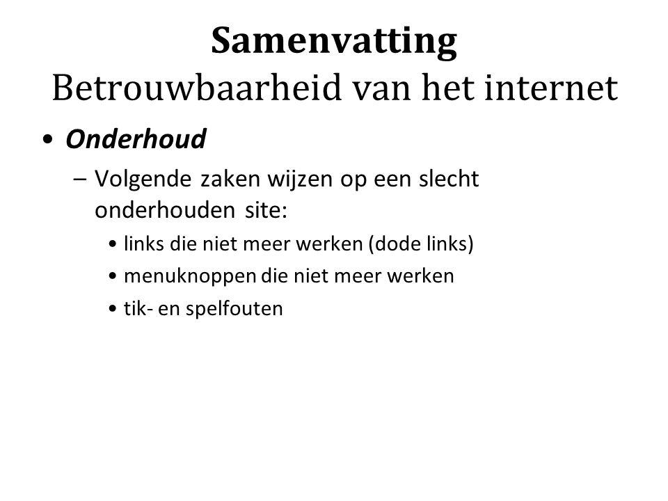 Samenvatting Betrouwbaarheid van het internet