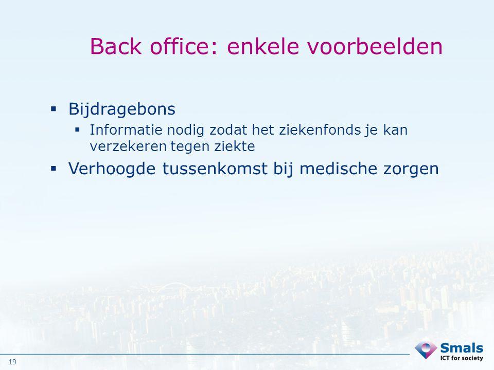 Back office: enkele voorbeelden