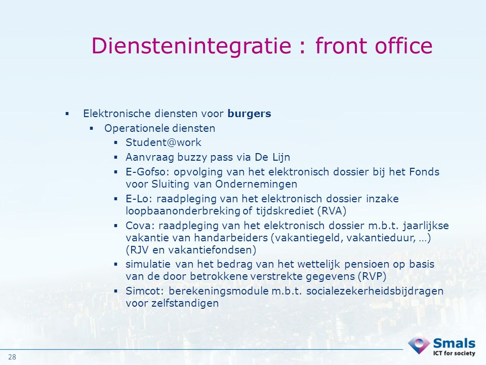 Dienstenintegratie : front office