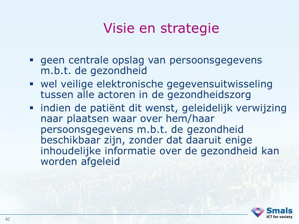 Visie en strategie geen centrale opslag van persoonsgegevens m.b.t. de gezondheid.