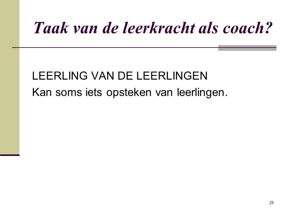 Taak van de leerkracht als coach