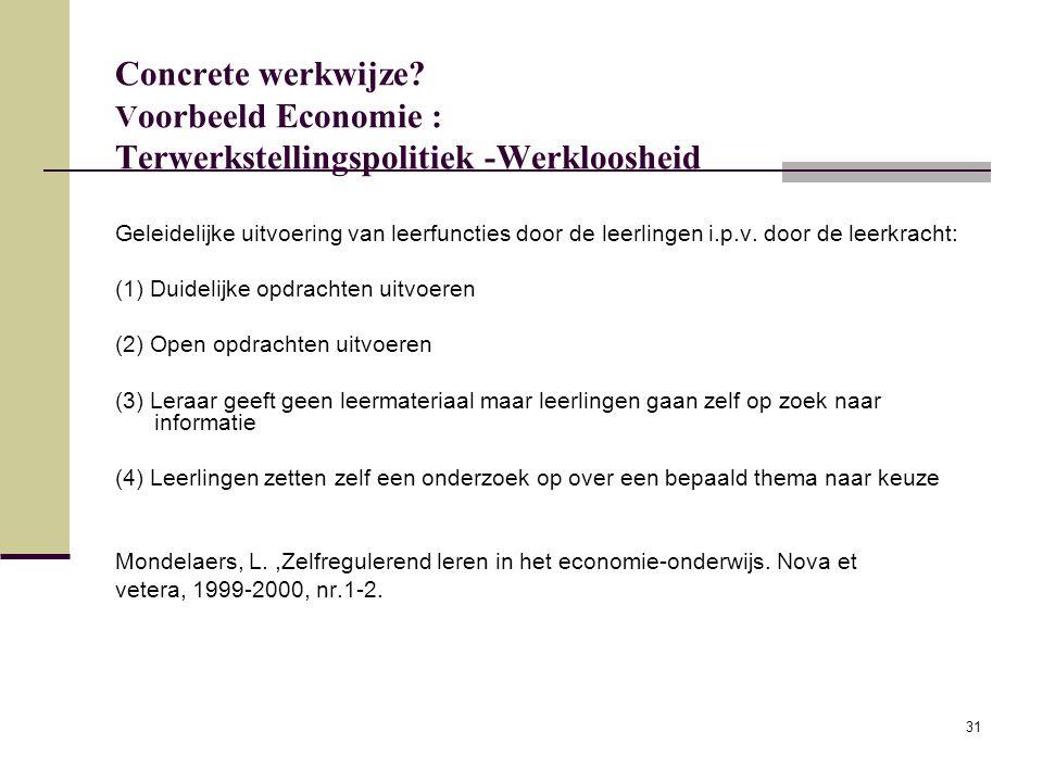 Concrete werkwijze Voorbeeld Economie : Terwerkstellingspolitiek -Werkloosheid