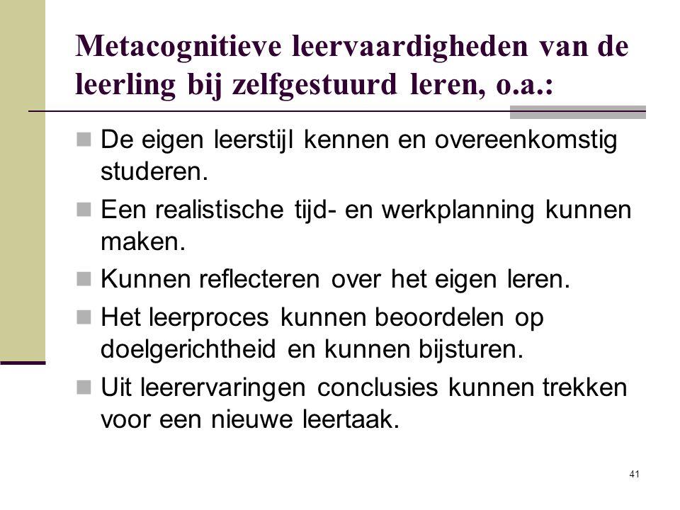 Metacognitieve leervaardigheden van de leerling bij zelfgestuurd leren, o.a.: