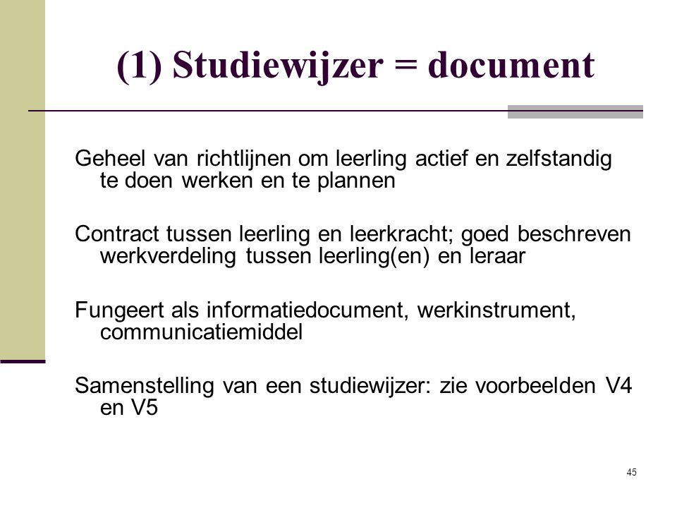 (1) Studiewijzer = document