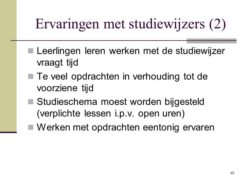 Ervaringen met studiewijzers (2)