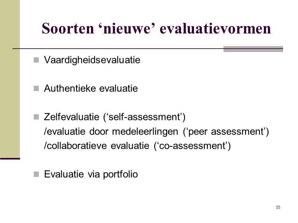 Soorten 'nieuwe' evaluatievormen