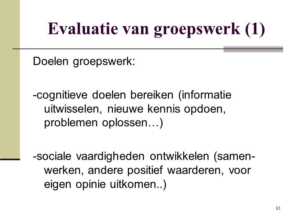 Evaluatie van groepswerk (1)