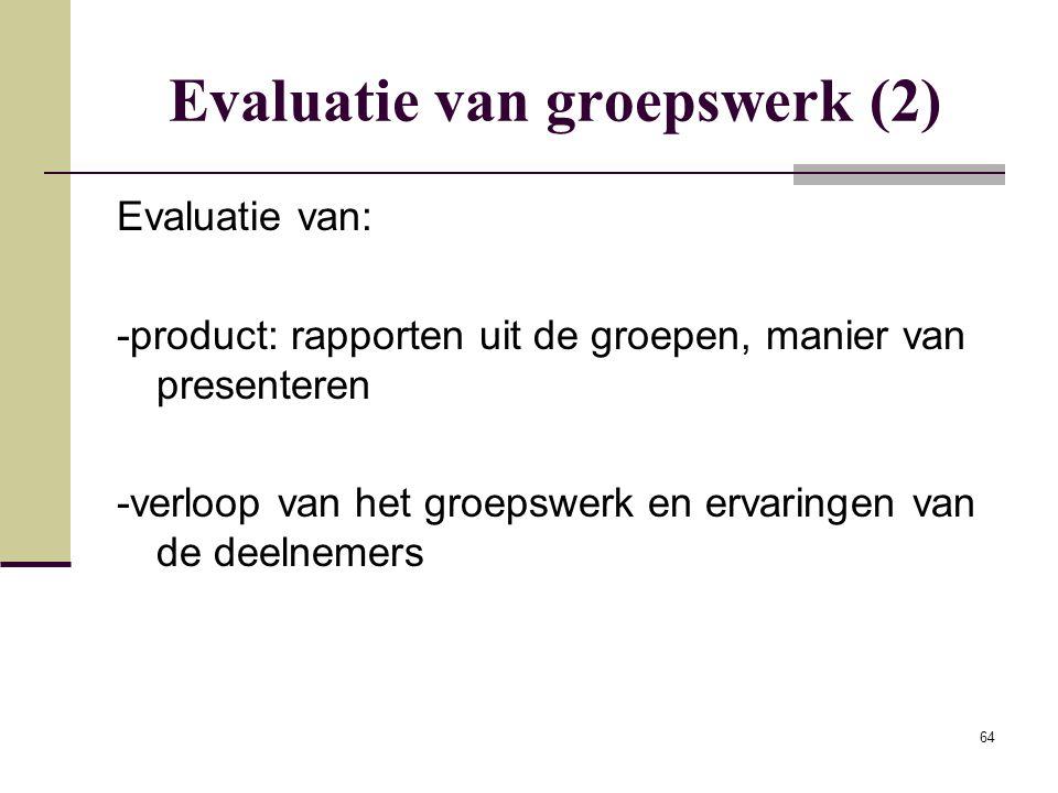 Evaluatie van groepswerk (2)