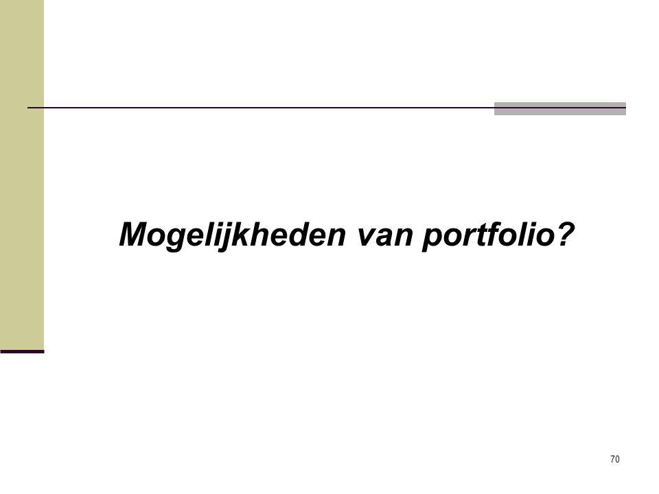 Mogelijkheden van portfolio