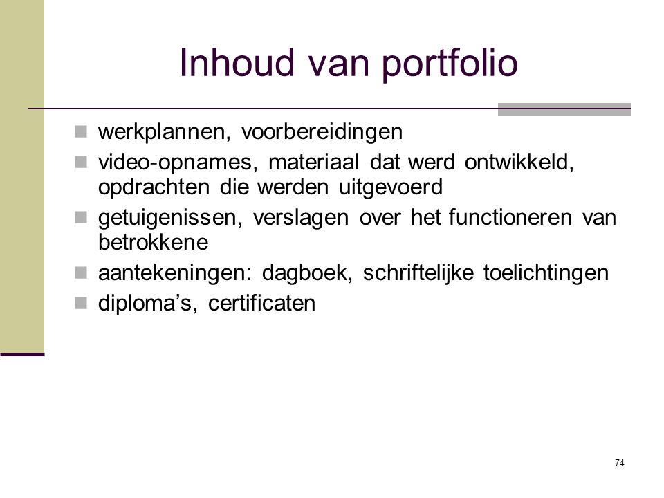 Inhoud van portfolio werkplannen, voorbereidingen