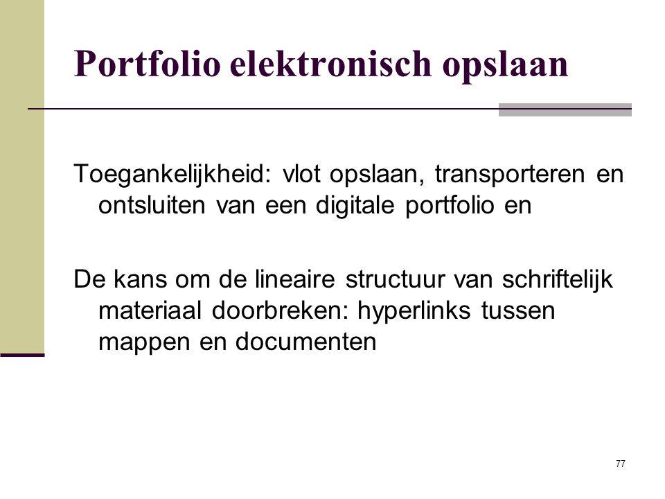 Portfolio elektronisch opslaan