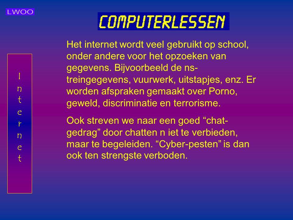 Het internet wordt veel gebruikt op school, onder andere voor het opzoeken van gegevens. Bijvoorbeeld de ns-treingegevens, vuurwerk, uitstapjes, enz. Er worden afspraken gemaakt over Porno, geweld, discriminatie en terrorisme.