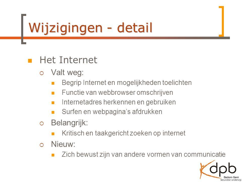 Wijzigingen - detail Het Internet Valt weg: Belangrijk: Nieuw: