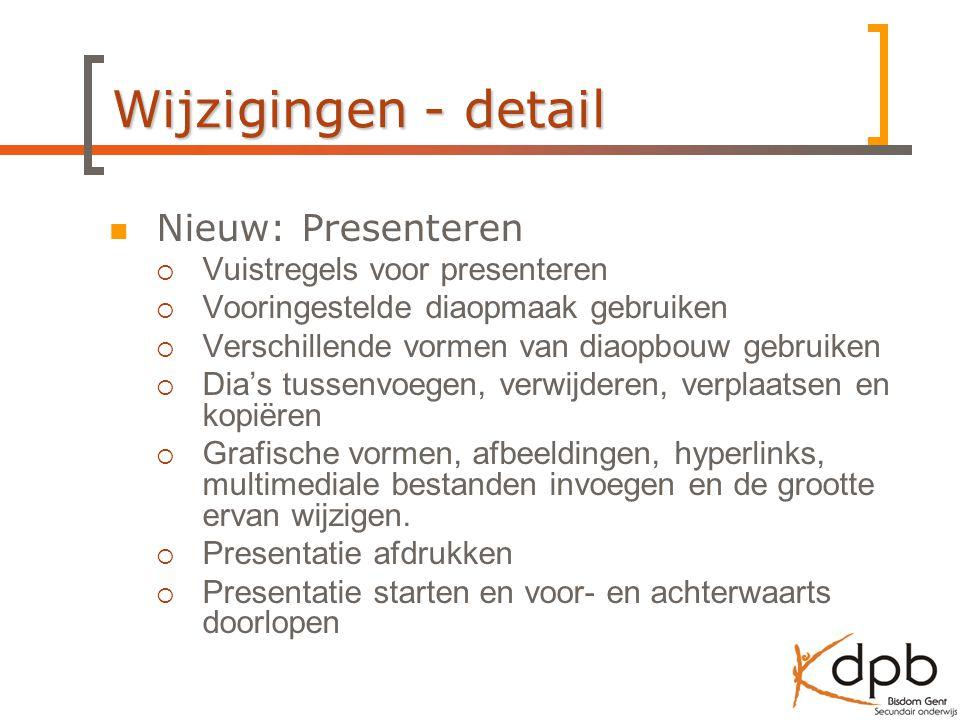 Wijzigingen - detail Nieuw: Presenteren Vuistregels voor presenteren